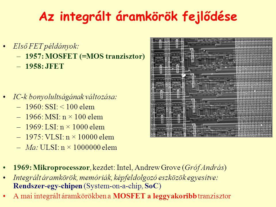 Az integrált áramkörök fejlődése Első FET példányok: –1957: MOSFET (=MOS tranzisztor) –1958: JFET IC-k bonyolultságának változása: –1960: SSI: < 100 elem –1966: MSI: n × 100 elem –1969: LSI: n × 1000 elem –1975: VLSI: n × 10000 elem –Ma: ULSI: n × 1000000 elem 1969: Mikroprocesszor, kezdet: Intel, Andrew Grove (Gróf András) Integrált áramkörök, memóriák, képfeldolgozó eszközök egyesítve: Rendszer-egy-chipen (System-on-a-chip, SoC) A mai integrált áramkörökben a MOSFET a leggyakoribb tranzisztor