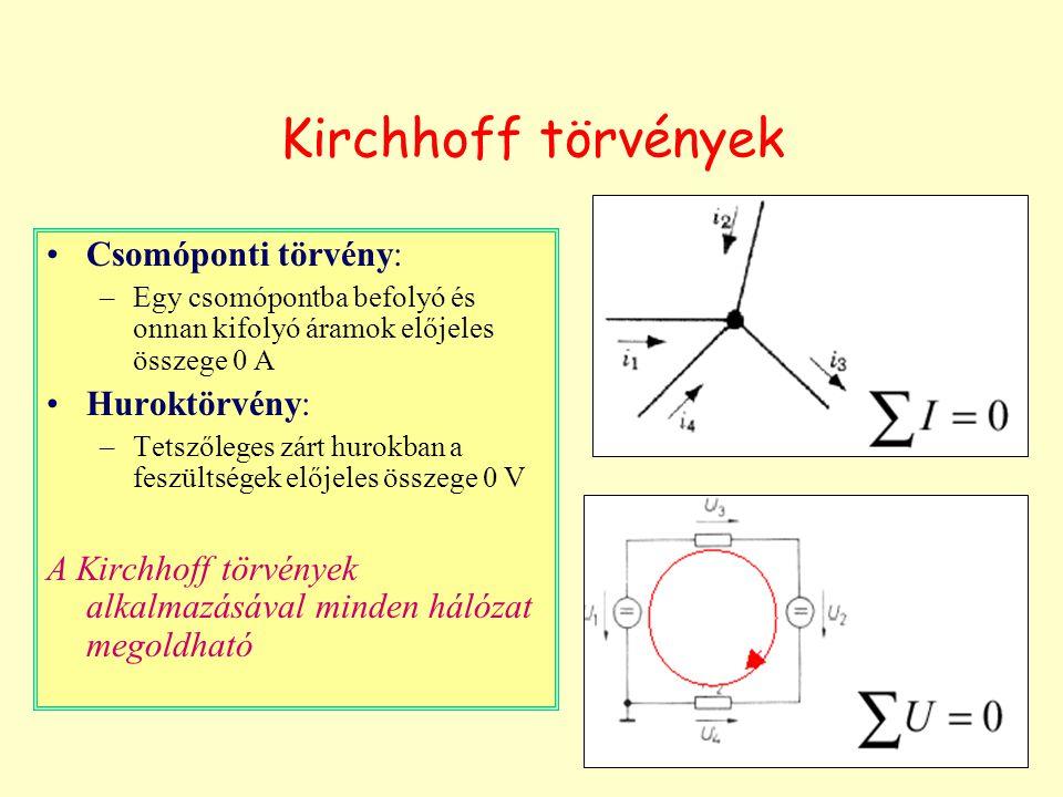 Kirchhoff törvények Csomóponti törvény: –Egy csomópontba befolyó és onnan kifolyó áramok előjeles összege 0 A Huroktörvény: –Tetszőleges zárt hurokban a feszültségek előjeles összege 0 V A Kirchhoff törvények alkalmazásával minden hálózat megoldható