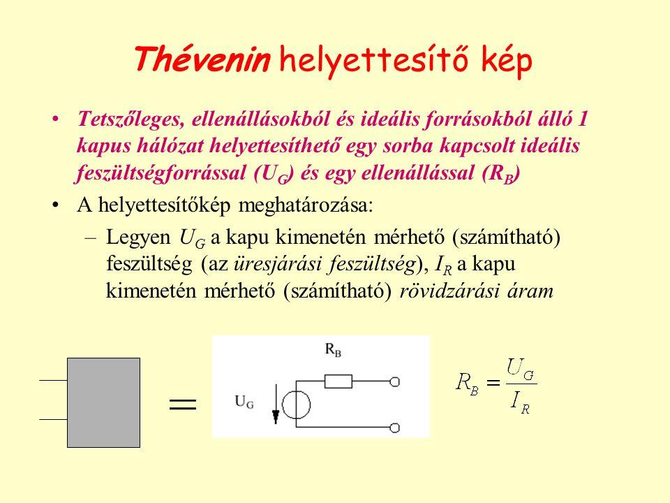 Thévenin helyettesítő kép Tetszőleges, ellenállásokból és ideális forrásokból álló 1 kapus hálózat helyettesíthető egy sorba kapcsolt ideális feszültségforrással (U G ) és egy ellenállással (R B ) A helyettesítőkép meghatározása: –Legyen U G a kapu kimenetén mérhető (számítható) feszültség (az üresjárási feszültség), I R a kapu kimenetén mérhető (számítható) rövidzárási áram =