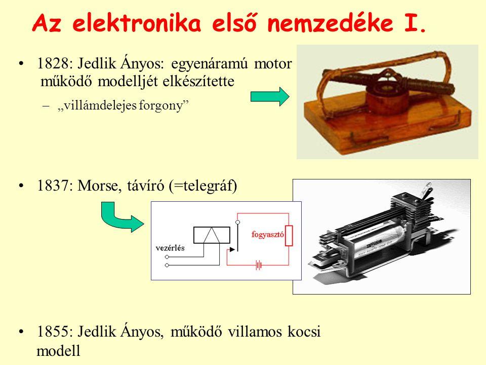 """Az elektronika első nemzedéke I. 1828: Jedlik Ányos: egyenáramú motor működő modelljét elkészítette –""""villámdelejes forgony"""" 1837: Morse, távíró (=tel"""