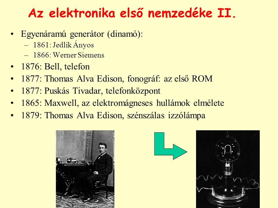 Az elektronika első nemzedéke II. Egyenáramú generátor (dinamó): –1861: Jedlik Ányos –1866: Werner Siemens 1876: Bell, telefon 1877: Thomas Alva Ediso