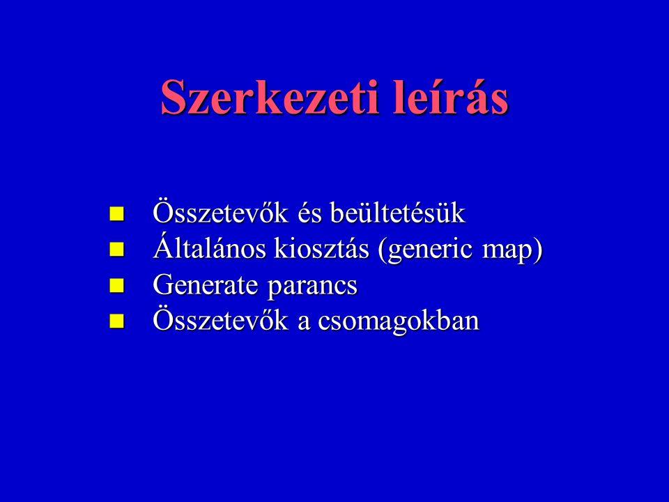 Szerkezeti leírás Összetevők és beültetésük Összetevők és beültetésük Általános kiosztás (generic map) Általános kiosztás (generic map) Generate parancs Generate parancs Összetevők a csomagokban Összetevők a csomagokban