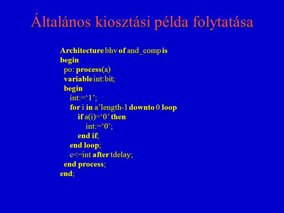 Általános kiosztási példa folytatása Architecture bhv of and_comp is begin po: process(a) po: process(a) variable int:bit; variable int:bit; begin begin int:='1'; int:='1'; for i in a'length-1 downto 0 loop for i in a'length-1 downto 0 loop if a(i)='0' then if a(i)='0' then int:='0'; int:='0'; end if; end if; end loop; end loop; c<=int after tdelay; c<=int after tdelay; end process; end process; end;