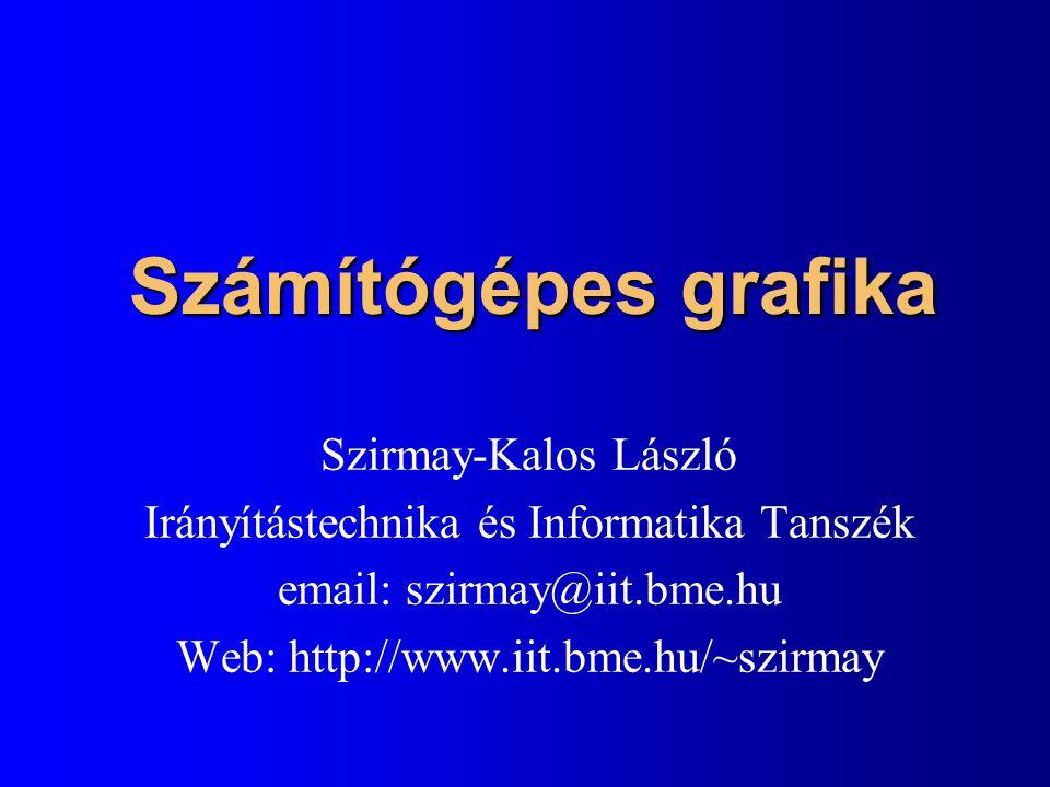 Számítógépes grafika Szirmay-Kalos László Irányítástechnika és Informatika Tanszék email: szirmay@iit.bme.hu Web: http://www.iit.bme.hu/~szirmay