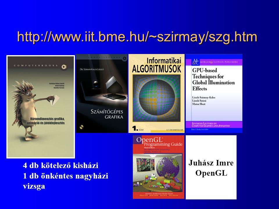 http://www.iit.bme.hu/~szirmay/szg.htm 4 db kötelező kisházi 1 db önkéntes nagyházi vizsga Juhász Imre OpenGL