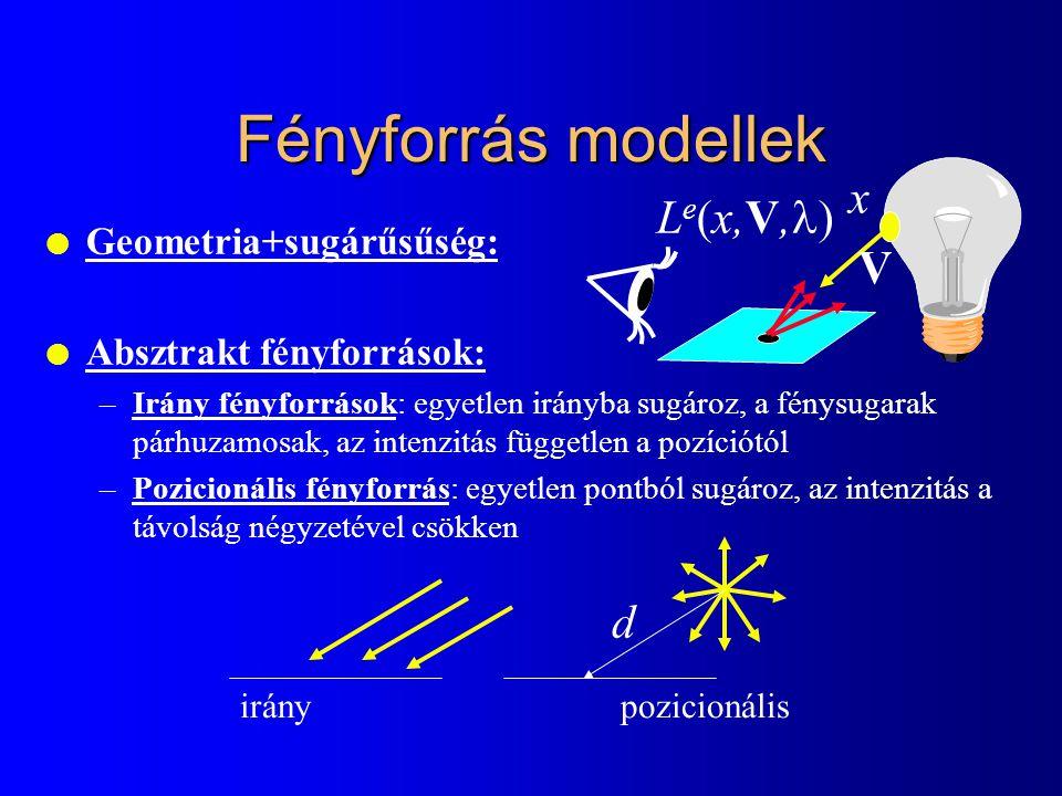 l Geometria+sugárűsűség: l Absztrakt fényforrások: –Irány fényforrások: egyetlen irányba sugároz, a fénysugarak párhuzamosak, az intenzitás független