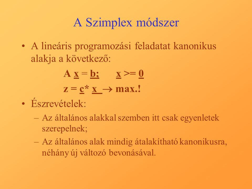 A Szimplex módszer A lineáris programozási feladatat kanonikus alakja a következő: A x = b;x >= 0 z = c* x  max.! Észrevételek: –Az általános alakkal