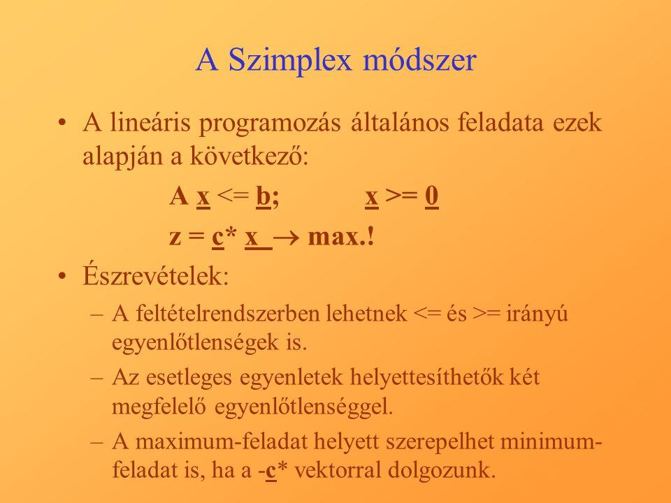 A Szimplex módszer A lineáris programozás általános feladata ezek alapján a következő: A x = 0 z = c* x  max.! Észrevételek: –A feltételrendszerben l