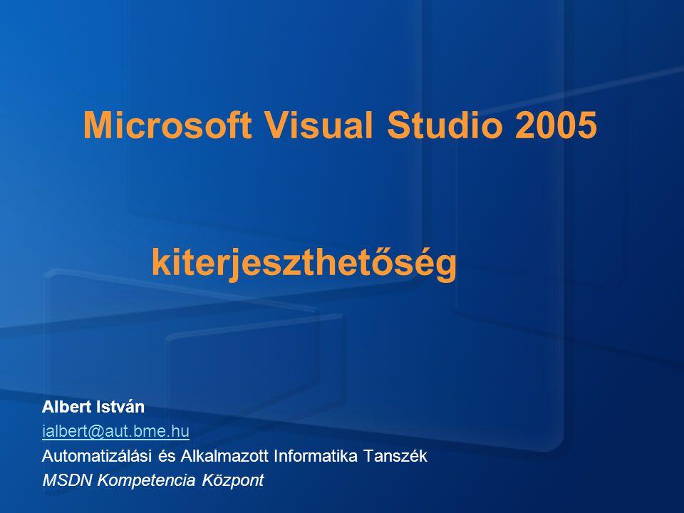 Microsoft Visual Studio 2005 kiterjeszthetőség Albert István ialbert@aut.bme.hu Automatizálási és Alkalmazott Informatika Tanszék MSDN Kompetencia Központ