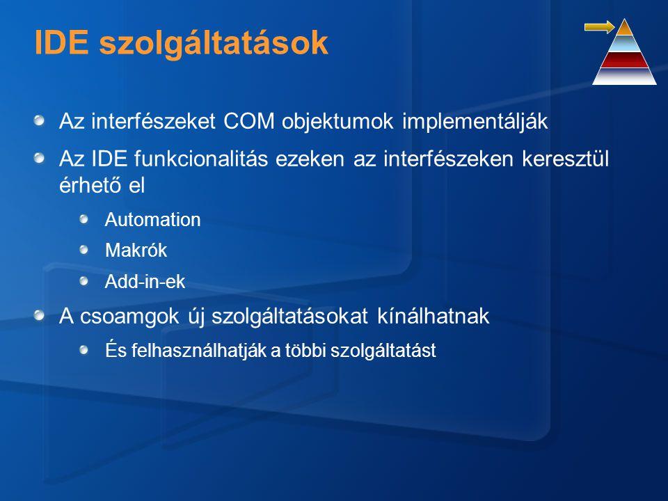 IDE szolgáltatások Az interfészeket COM objektumok implementálják Az IDE funkcionalitás ezeken az interfészeken keresztül érhető el Automation Makrók Add-in-ek A csoamgok új szolgáltatásokat kínálhatnak És felhasználhatják a többi szolgáltatást