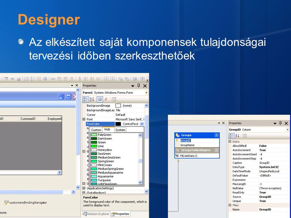 Designer Az elkészített saját komponensek tulajdonságai tervezési időben szerkeszthetőek