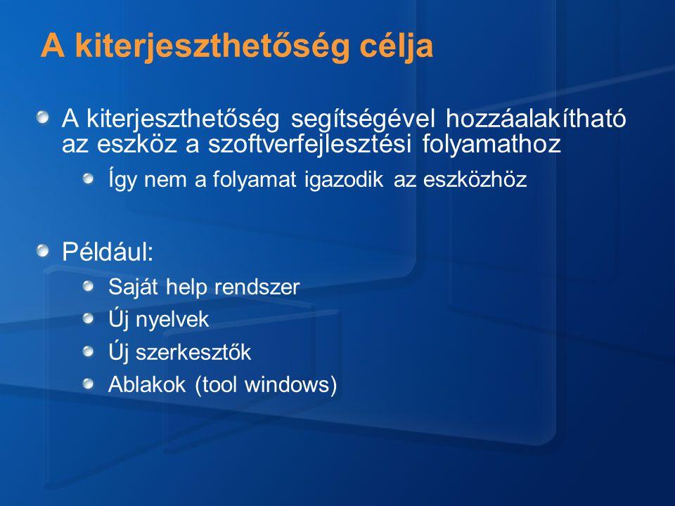 A kiterjeszthetőség célja A kiterjeszthetőség segítségével hozzáalakítható az eszköz a szoftverfejlesztési folyamathoz Így nem a folyamat igazodik az eszközhöz Például: Saját help rendszer Új nyelvek Új szerkesztők Ablakok (tool windows)