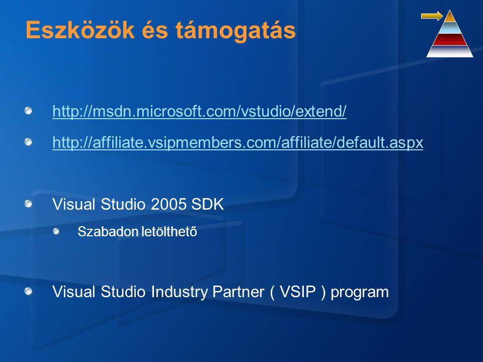 Kiterjesztési pontok IDE Project rendszer, nyelvek, szerkesztők, ablakok.NET Designers, menük, parancsok, eszköztár integráció, opciók, tulajdonság szerkesztő Help integráció, telepítés Debugger Saját debug engine Kifejezés kiértékelő Típus megjelenítők (Type Visualizers) Source Control Source Control Provider Adatforrások Új tervezés idejű adatforrások, Drag-n-Drop Data Source Provider Stb.