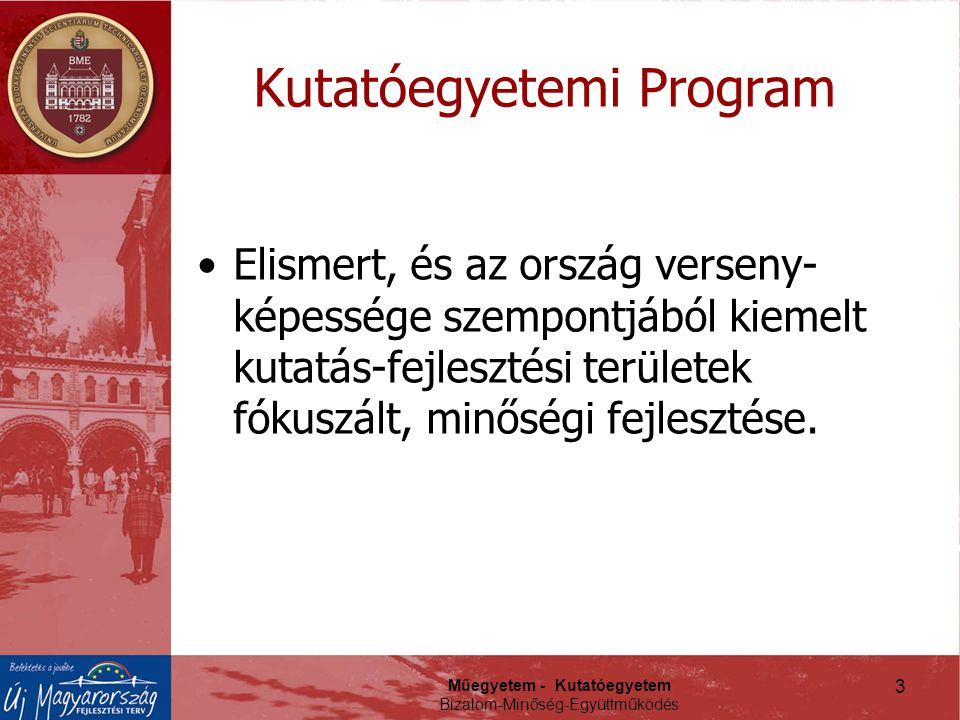 Műegyetem - Kutatóegyetem Bizalom-Minőség-Együttműködés Kutatóegyetemi Program Elismert, és az ország verseny- képessége szempontjából kiemelt kutatás-fejlesztési területek fókuszált, minőségi fejlesztése.