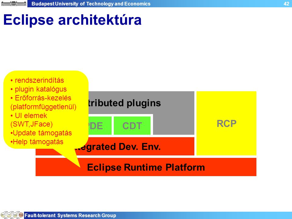 Budapest University of Technology and Economics Fault-tolerant Systems Research Group 42 Eclipse architektúra Eclipse Runtime Platform Integrated Dev.