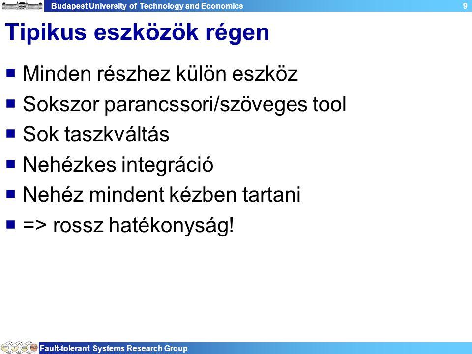 Budapest University of Technology and Economics Fault-tolerant Systems Research Group 40 Eclipse architektúra  Platform független −Windows, Linux, AIX, HP-UX,…  Nyelvfüggetlen −Java, C, C++, PHP, Perl −Az eszköz és kiegészítései Java nyelven.