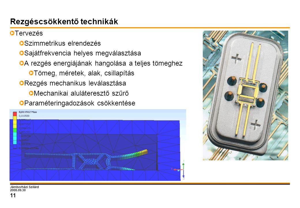 Jámborházi Szilárd 2008.09.30 11 Rezgéscsökkentő technikák Tervezés Szimmetrikus elrendezés Sajátfrekvencia helyes megválasztása A rezgés energiájának