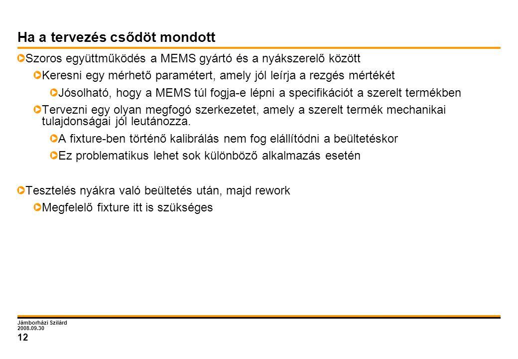 Jámborházi Szilárd 2008.09.30 12 Ha a tervezés csődöt mondott Szoros együttműködés a MEMS gyártó és a nyákszerelő között Keresni egy mérhető paraméter