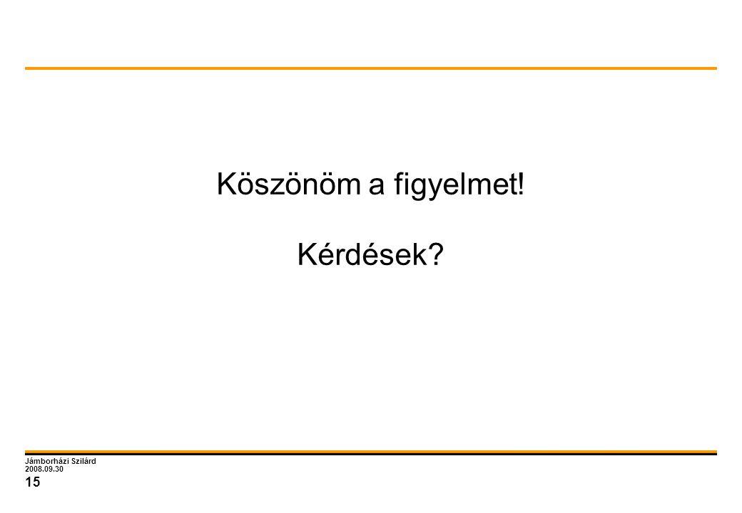 Jámborházi Szilárd 2008.09.30 15 Köszönöm a figyelmet! Kérdések?