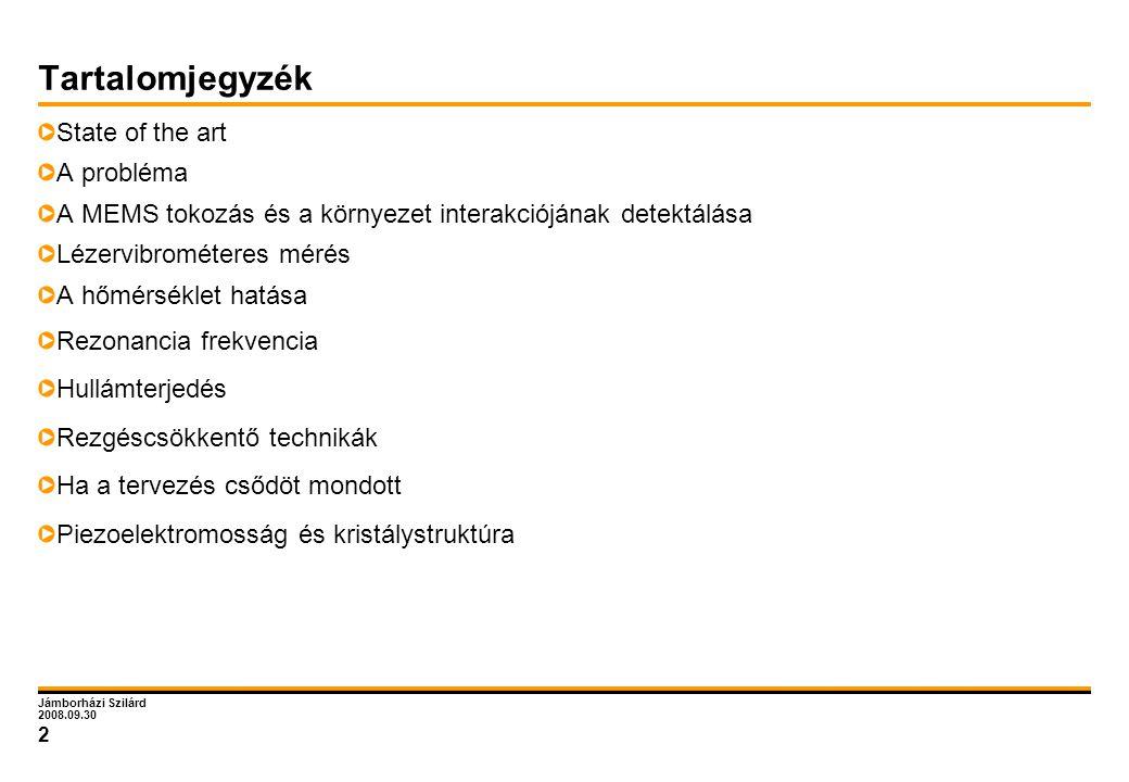 Jámborházi Szilárd 2008.09.30 2 Tartalomjegyzék State of the art A probléma A MEMS tokozás és a környezet interakciójának detektálása Lézervibrométere