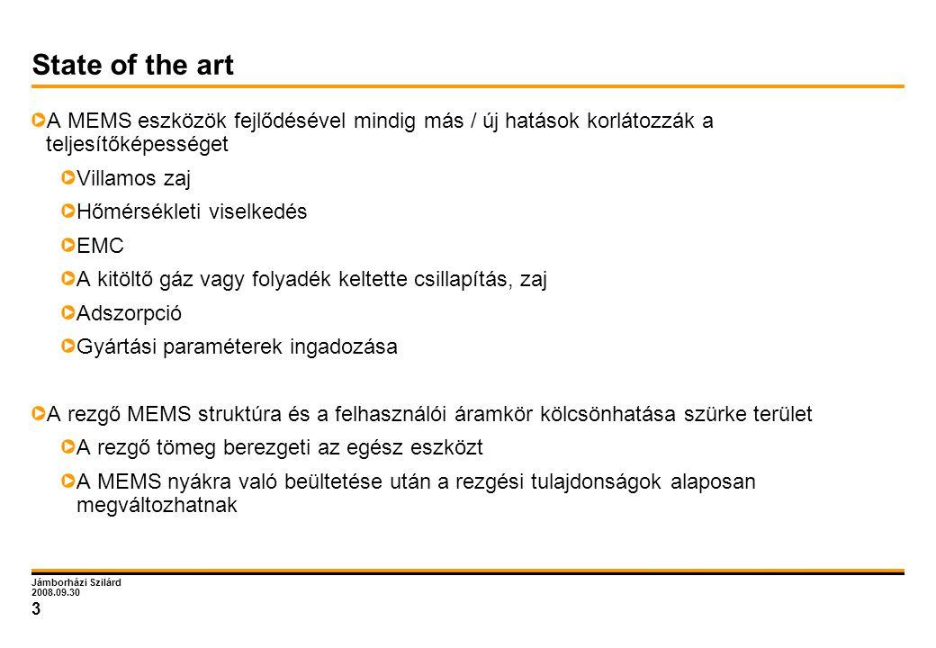 Jámborházi Szilárd 2008.09.30 3 State of the art A MEMS eszközök fejlődésével mindig más / új hatások korlátozzák a teljesítőképességet Villamos zaj H