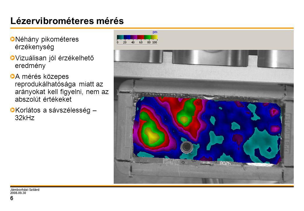 Jámborházi Szilárd 2008.09.30 6 Lézervibrométeres mérés Néhány pikométeres érzékenység Vizuálisan jól érzékelhető eredmény A mérés közepes reprodukálh