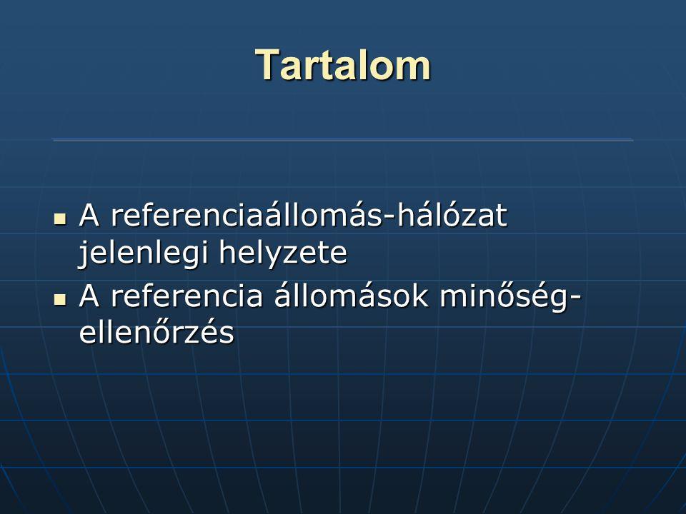 Tartalom A referenciaállomás-hálózat jelenlegi helyzete A referenciaállomás-hálózat jelenlegi helyzete A referencia állomások minőség- ellenőrzés A referencia állomások minőség- ellenőrzés