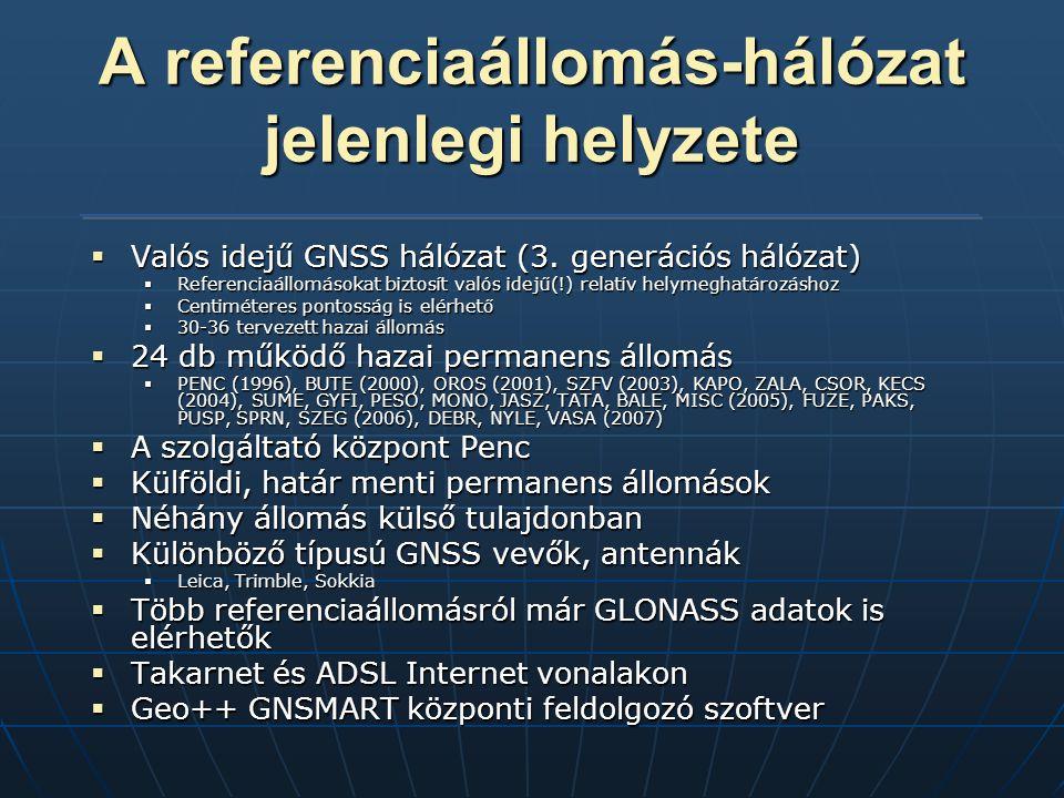 A referenciaállomás-hálózat jelenlegi helyzete  Valós idejű GNSS hálózat (3.