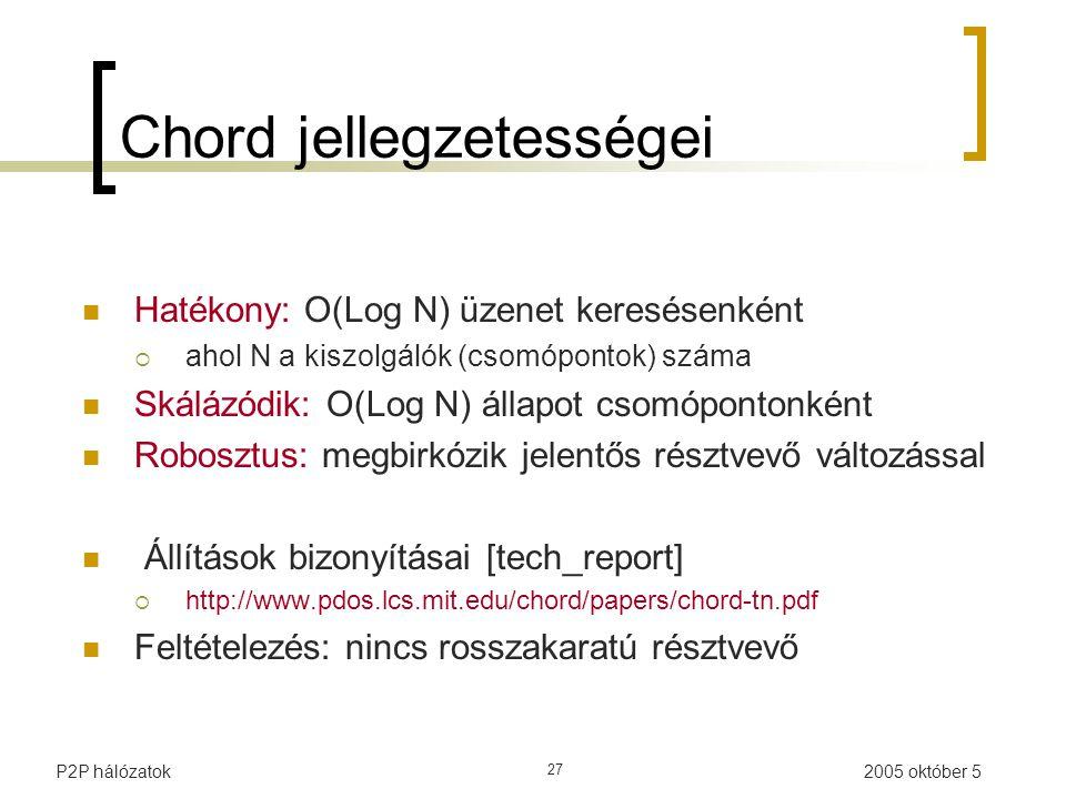 2005 október 5P2P hálózatok 27 Chord jellegzetességei Hatékony: O(Log N) üzenet keresésenként  ahol N a kiszolgálók (csomópontok) száma Skálázódik: O(Log N) állapot csomópontonként Robosztus: megbirkózik jelentős résztvevő változással Állítások bizonyításai [tech_report]  http://www.pdos.lcs.mit.edu/chord/papers/chord-tn.pdf Feltételezés: nincs rosszakaratú résztvevő