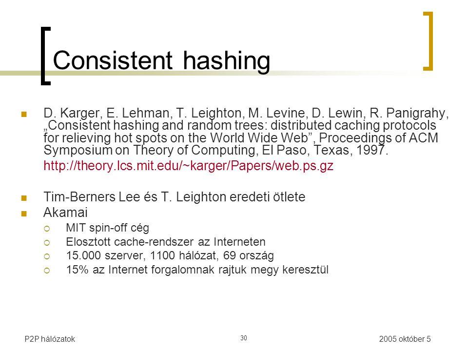 2005 október 5P2P hálózatok 30 Consistent hashing D.
