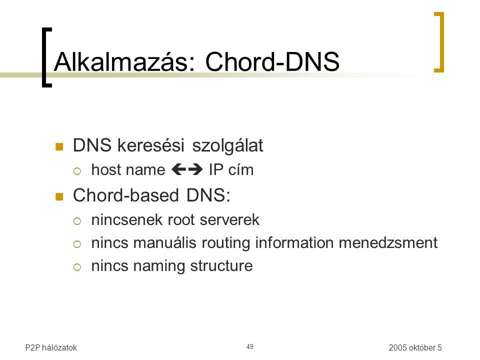2005 október 5P2P hálózatok 49 Alkalmazás: Chord-DNS DNS keresési szolgálat  host name  IP cím Chord-based DNS:  nincsenek root serverek  nincs manuális routing information menedzsment  nincs naming structure