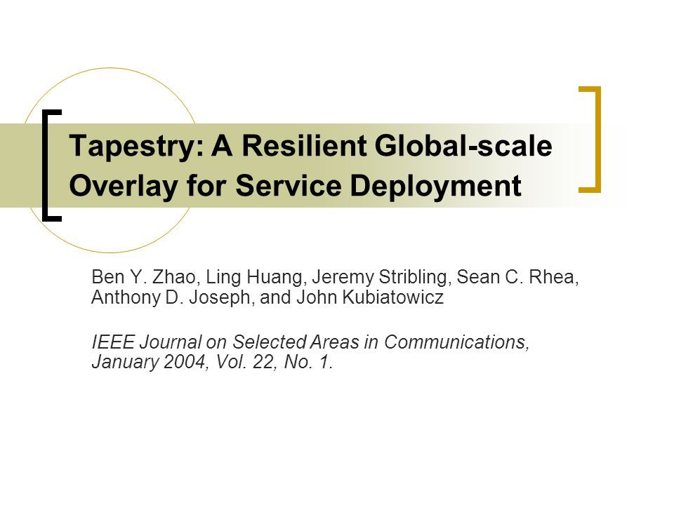 Tapestry: A Resilient Global-scale Overlay for Service Deployment Ben Y.