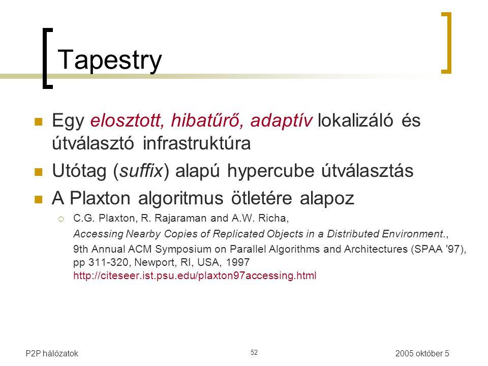 2005 október 5P2P hálózatok 52 Tapestry Egy elosztott, hibatűrő, adaptív lokalizáló és útválasztó infrastruktúra Utótag (suffix) alapú hypercube útválasztás A Plaxton algoritmus ötletére alapoz  C.G.