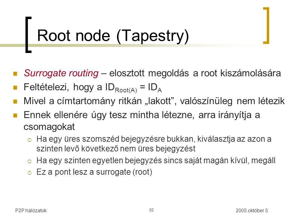 """2005 október 5P2P hálózatok 62 Root node (Tapestry) Surrogate routing – elosztott megoldás a root kiszámolására Feltételezi, hogy a ID Root(A) = ID A Mivel a címtartomány ritkán """"lakott , valószínüleg nem létezik Ennek ellenére úgy tesz mintha létezne, arra irányítja a csomagokat  Ha egy üres szomszéd bejegyzésre bukkan, kiválasztja az azon a szinten levő következő nem üres bejegyzést  Ha egy szinten egyetlen bejegyzés sincs saját magán kívül, megáll  Ez a pont lesz a surrogate (root)"""