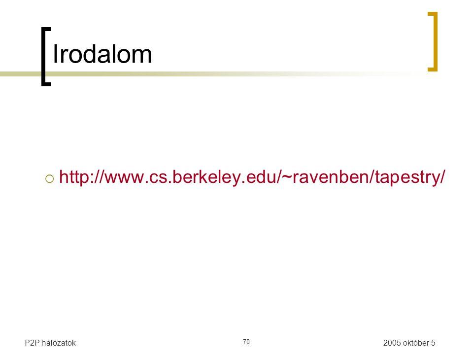 2005 október 5P2P hálózatok 70 Irodalom  http://www.cs.berkeley.edu/~ravenben/tapestry/
