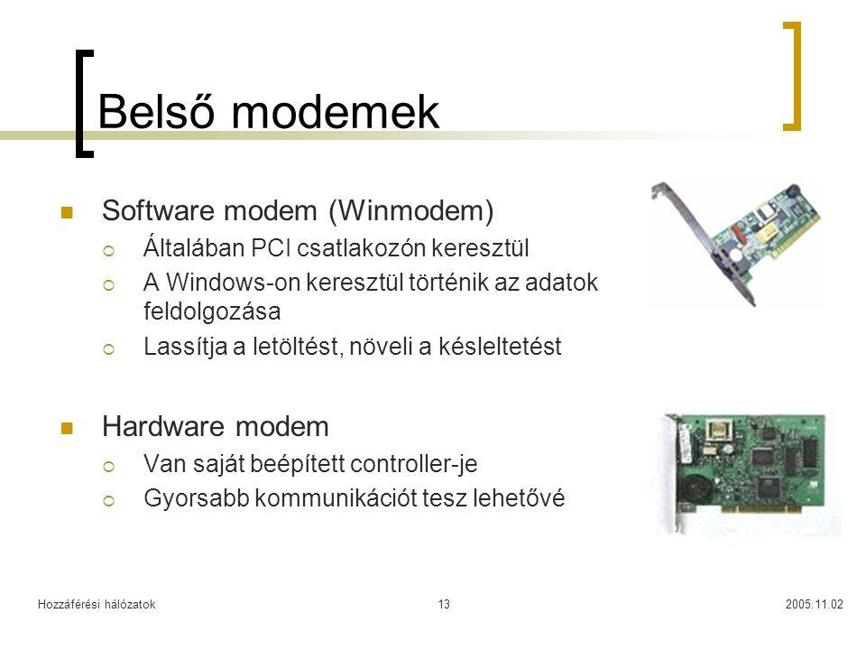 Hozzáférési hálózatok2005.11.0213 Belső modemek Software modem (Winmodem)  Általában PCI csatlakozón keresztül  A Windows-on keresztül történik az adatok feldolgozása  Lassítja a letöltést, növeli a késleltetést Hardware modem  Van saját beépített controller-je  Gyorsabb kommunikációt tesz lehetővé