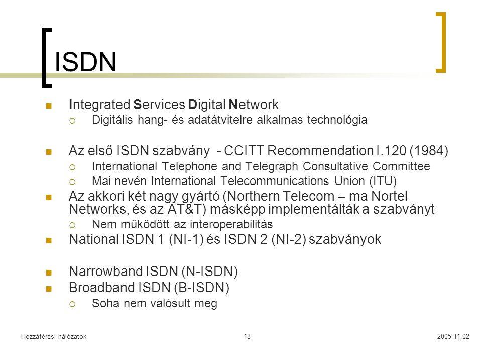 Hozzáférési hálózatok2005.11.0218 ISDN Integrated Services Digital Network  Digitális hang- és adatátvitelre alkalmas technológia Az első ISDN szabvány - CCITT Recommendation I.120 (1984)  International Telephone and Telegraph Consultative Committee  Mai nevén International Telecommunications Union (ITU) Az akkori két nagy gyártó (Northern Telecom – ma Nortel Networks, és az AT&T) másképp implementálták a szabványt  Nem működött az interoperabilitás National ISDN 1 (NI-1) és ISDN 2 (NI-2) szabványok Narrowband ISDN (N-ISDN) Broadband ISDN (B-ISDN)  Soha nem valósult meg