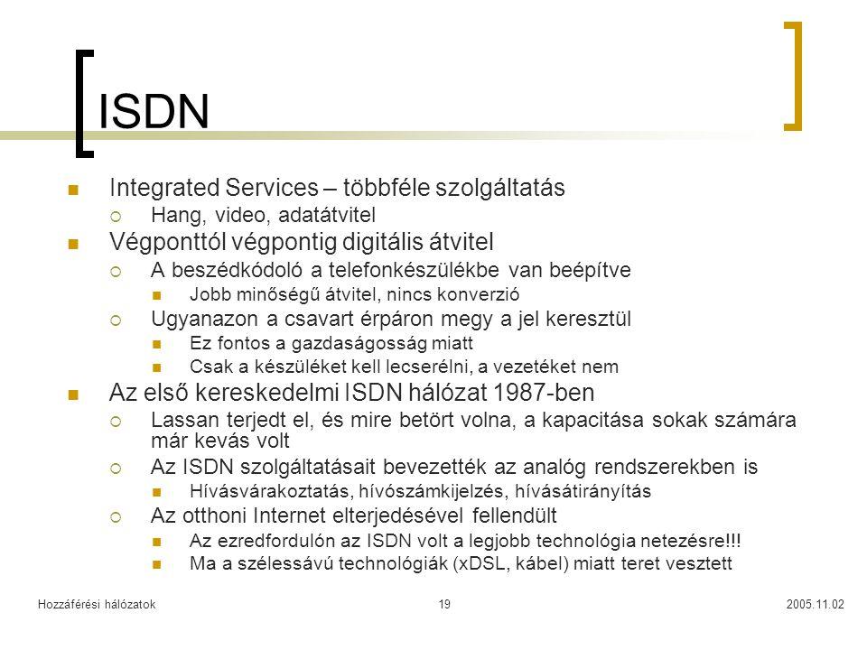 Hozzáférési hálózatok2005.11.0219 ISDN Integrated Services – többféle szolgáltatás  Hang, video, adatátvitel Végponttól végpontig digitális átvitel  A beszédkódoló a telefonkészülékbe van beépítve Jobb minőségű átvitel, nincs konverzió  Ugyanazon a csavart érpáron megy a jel keresztül Ez fontos a gazdaságosság miatt Csak a készüléket kell lecserélni, a vezetéket nem Az első kereskedelmi ISDN hálózat 1987-ben  Lassan terjedt el, és mire betört volna, a kapacitása sokak számára már kevás volt  Az ISDN szolgáltatásait bevezették az analóg rendszerekben is Hívásvárakoztatás, hívószámkijelzés, hívásátirányítás  Az otthoni Internet elterjedésével fellendült Az ezredfordulón az ISDN volt a legjobb technológia netezésre!!.