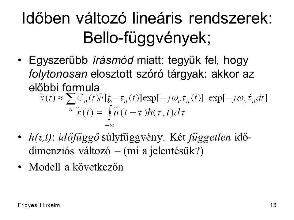 Frigyes: Hírkelm13 Időben változó lineáris rendszerek: Bello-függvények; Egyszerűbb írásmód miatt: tegyük fel, hogy folytonosan elosztott szóró tárgya