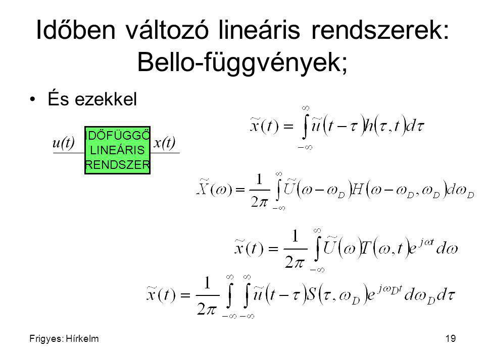 Frigyes: Hírkelm19 Időben változó lineáris rendszerek: Bello-függvények; És ezekkel IDŐFÜGGŐ LINEÁRIS RENDSZER u(t)x(t)