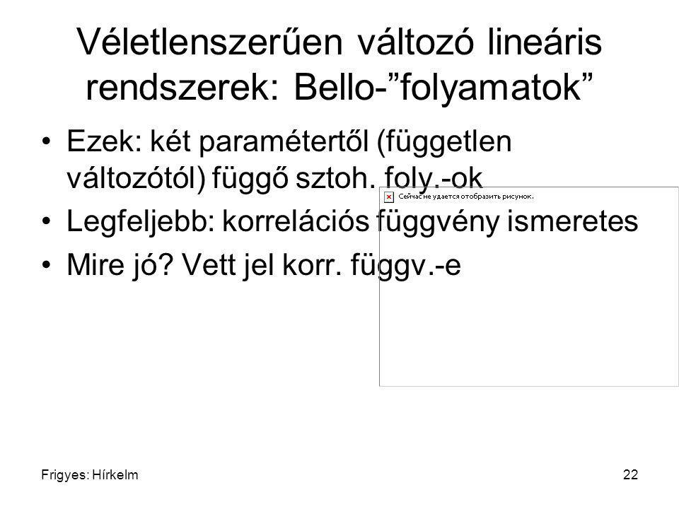 """Frigyes: Hírkelm22 Véletlenszerűen változó lineáris rendszerek: Bello-""""folyamatok"""" Ezek: két paramétertől (független változótól) függő sztoh. foly.-ok"""