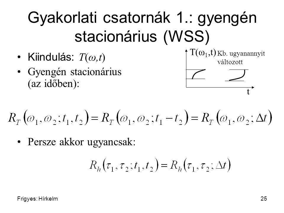 Frigyes: Hírkelm25 Gyakorlati csatornák 1.: gyengén stacionárius (WSS) Kiindulás: T(ω,t) Gyengén stacionárius (az időben): Persze akkor ugyancsak: t T