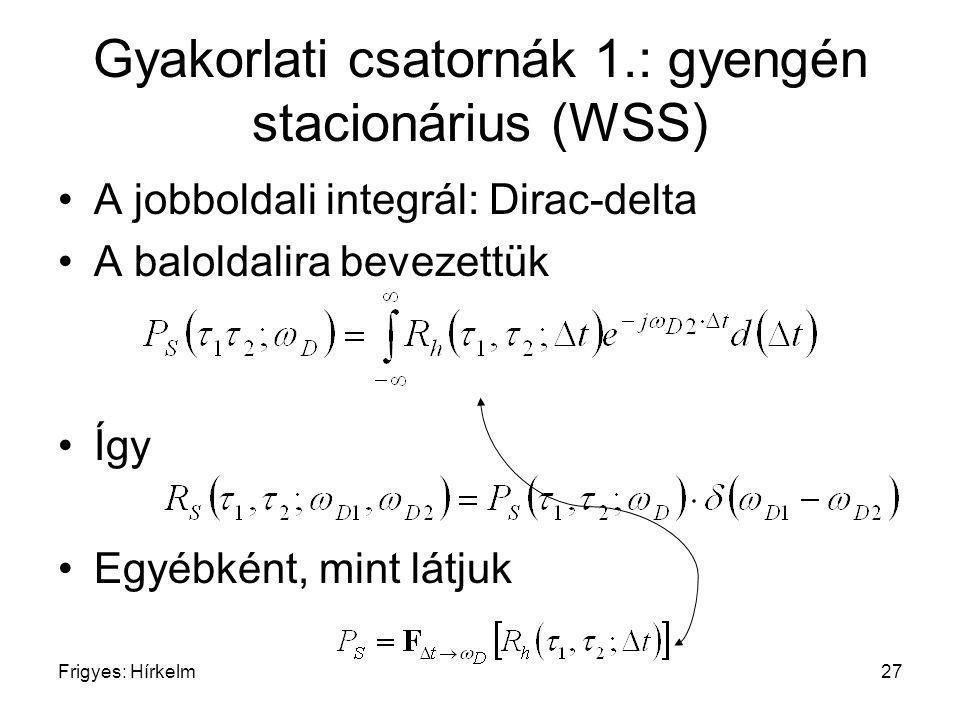 Frigyes: Hírkelm27 Gyakorlati csatornák 1.: gyengén stacionárius (WSS) A jobboldali integrál: Dirac-delta A baloldalira bevezettük Így Egyébként, mint