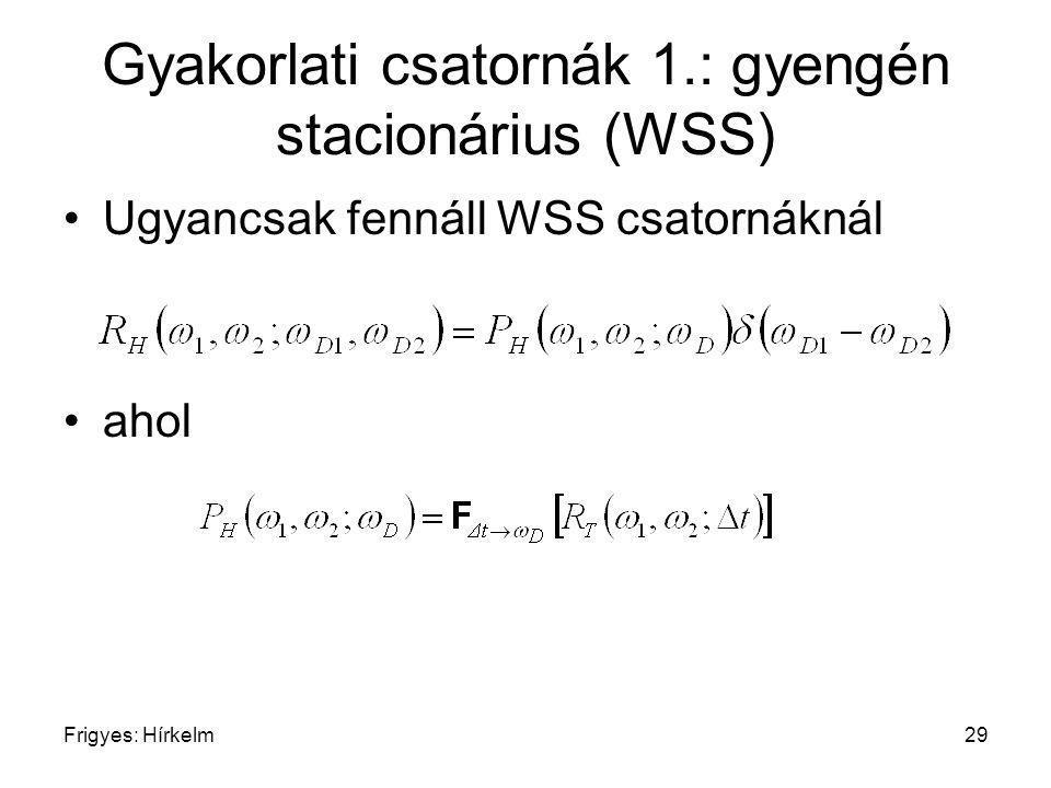 Frigyes: Hírkelm29 Gyakorlati csatornák 1.: gyengén stacionárius (WSS) Ugyancsak fennáll WSS csatornáknál ahol