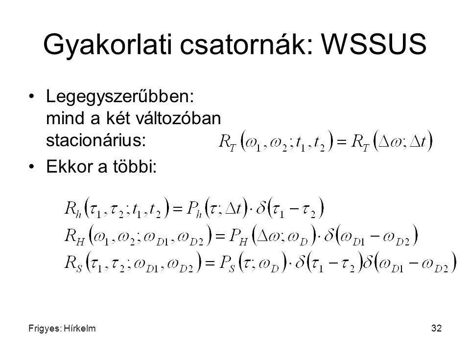 Frigyes: Hírkelm32 Gyakorlati csatornák: WSSUS Legegyszerűbben: mind a két változóban stacionárius: Ekkor a többi: