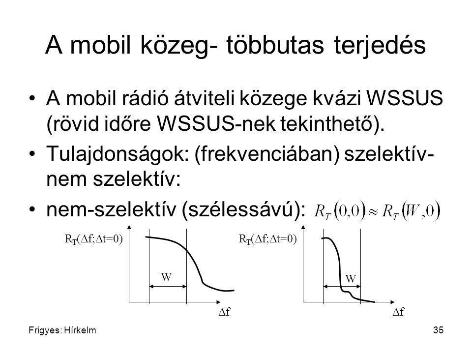 Frigyes: Hírkelm35 A mobil közeg- többutas terjedés A mobil rádió átviteli közege kvázi WSSUS (rövid időre WSSUS-nek tekinthető). Tulajdonságok: (frek