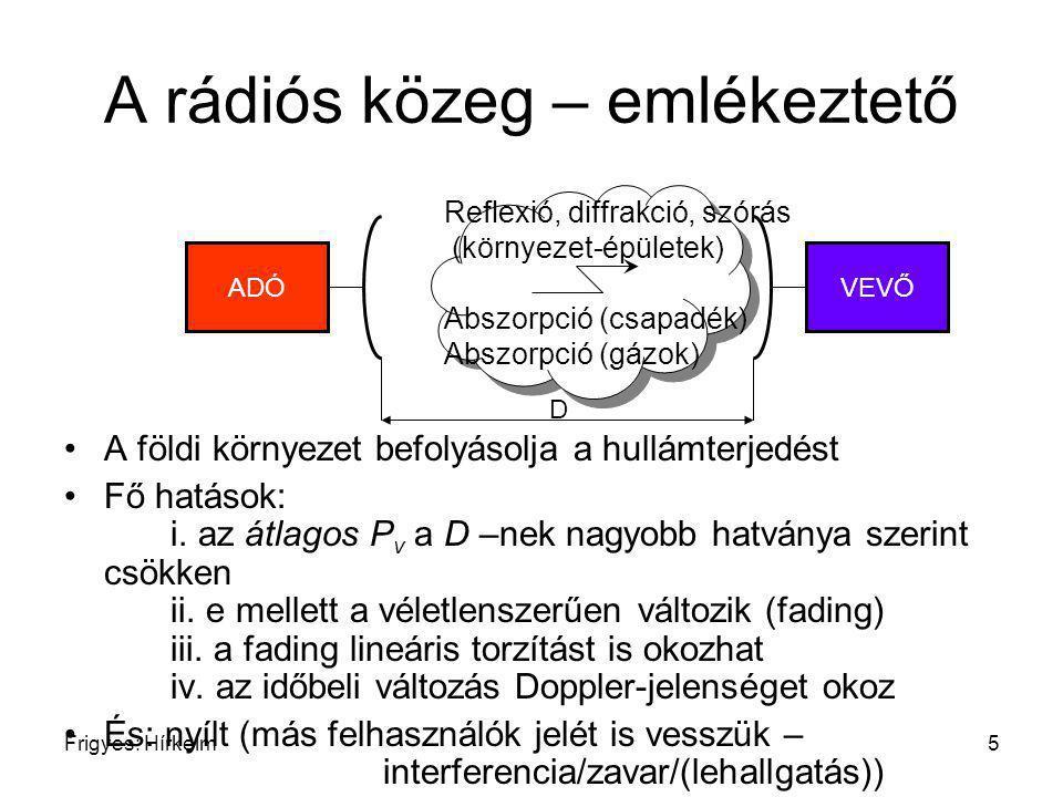 Frigyes: Hírkelm6 A rádiós közeg Konkrét tulajdonságok: környezettől és frekvenciasávtól függ Frekvenciasáv: csak mikrohullámokkal/ mm-es hullámokkal foglalkozunk (kb >300 MHz, < 1 m) A környezettől függően különböző földi mobil || földi fix, keskenysávú, 10 MHz) műholdas 10 –GHz stb