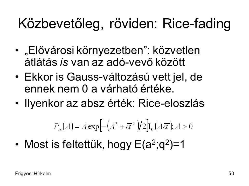 """Frigyes: Hírkelm50 Közbevetőleg, röviden: Rice-fading """"Elővárosi környezetben"""": közvetlen átlátás is van az adó-vevő között Ekkor is Gauss-változású v"""