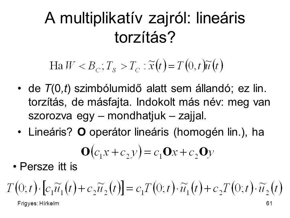 Frigyes: Hírkelm61 A multiplikatív zajról: lineáris torzítás? de T(0,t) szimbólumidő alatt sem állandó; ez lin. torzítás, de másfajta. Indokolt más né