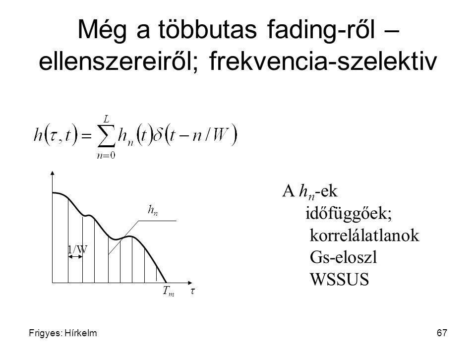 Frigyes: Hírkelm67 Még a többutas fading-ről – ellenszereiről; frekvencia-szelektiv T m τ 1/W A h n -ek időfüggőek; korrelálatlanok Gs-eloszl WSSUS hn